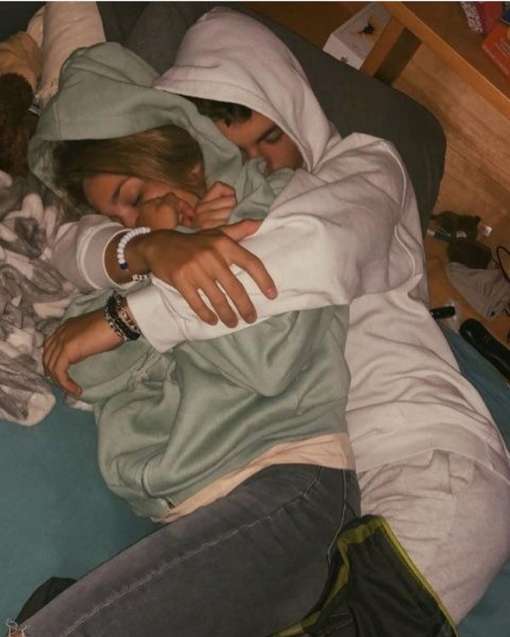 sweet couple asleep ready for a new relationship