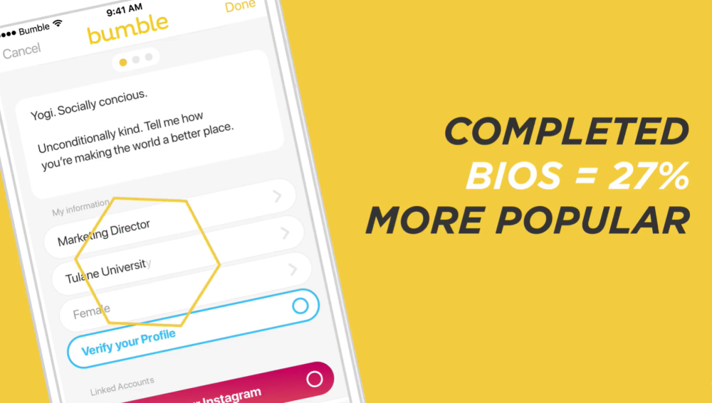 Bumble dating app review Profile