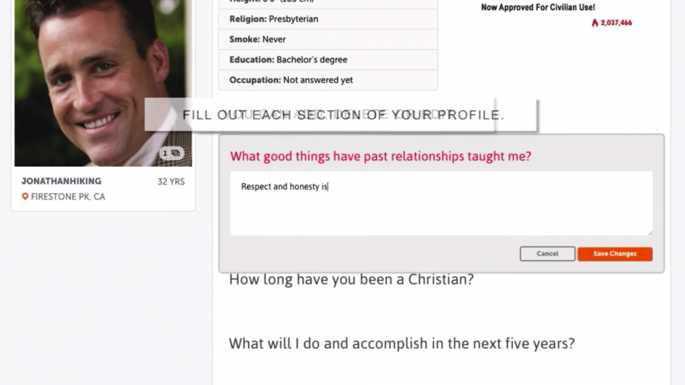 Christian Mingle interface