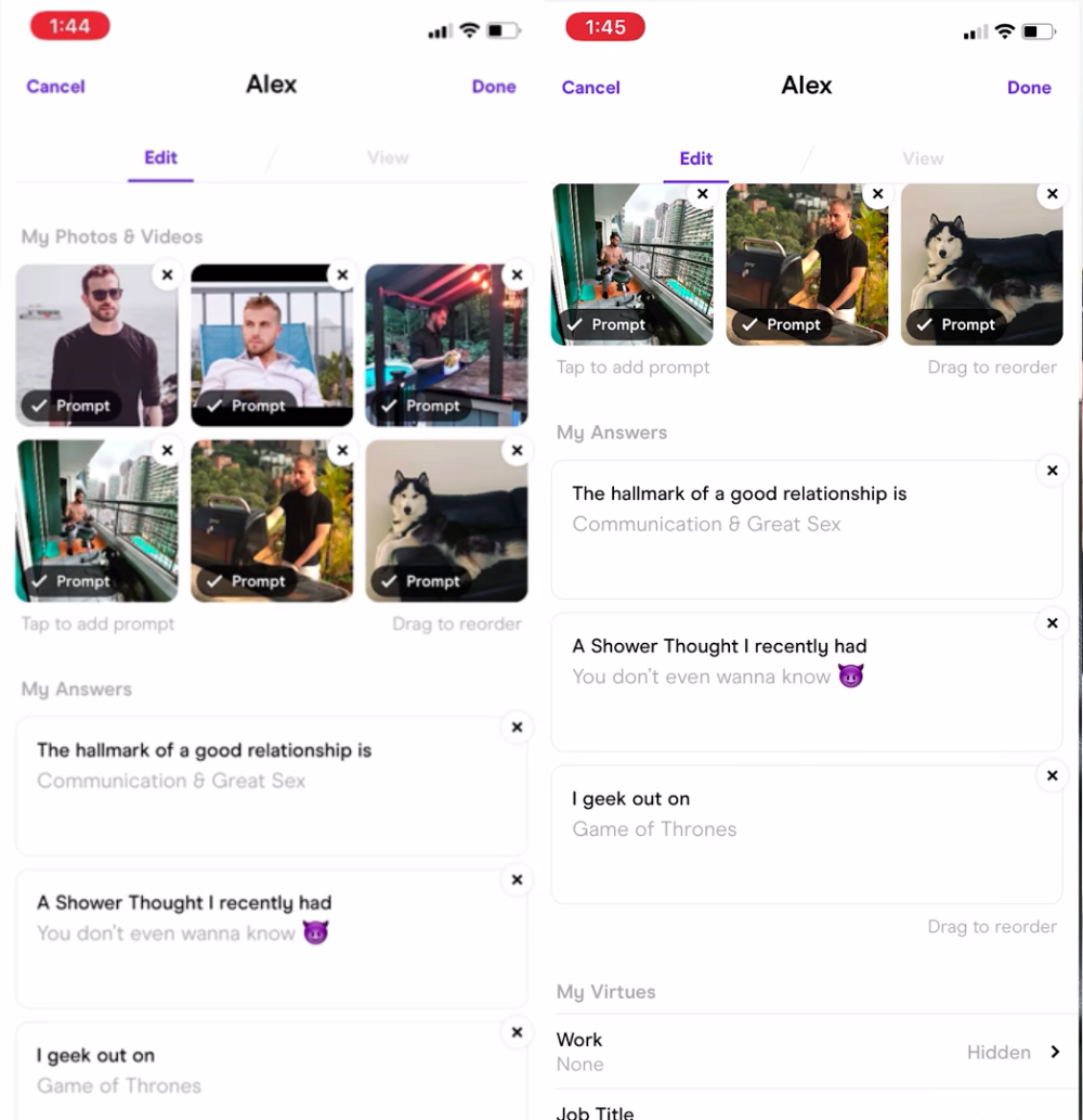Hinge dating app review interface